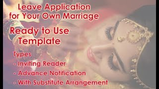 Leave Application For Getting Married