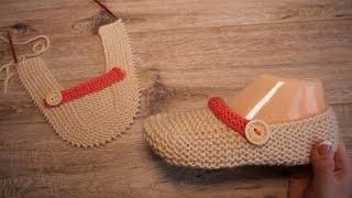 Легкие тапочки спицами | Easy Slippers Free Knitting Pattern