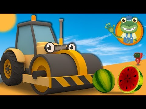 Squashing Fruit with Rick the Road Roller | Cartoons for Children | Gecko's Garage