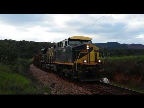 GE ac44i 7346 liderando trem CEC chegando em Brumadinho-Mg  05-12-2017