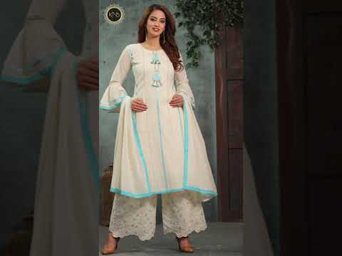 Cotton Embroidered Palazzo Suit