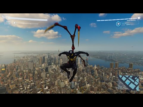 Spider-Man PS4 - Jumping Off Highest Building In Black Suit (All Weathers) END Game Suit