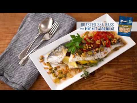 Roasted Sea Bass with Pine Nut Agro Dulce