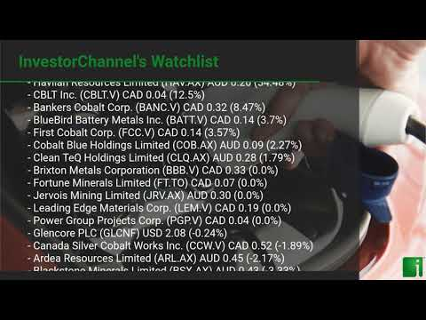 InvestorChannel's Cobalt Watchlist Update for Wednesday, September 30, 2020, 16:30 EST