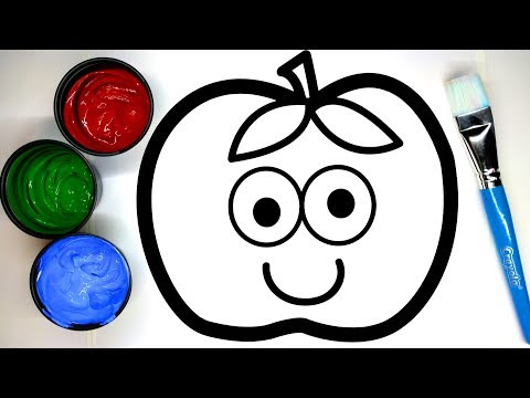 Painting Cute Apple Painting Pages, Learn Painting and to Color for Baby