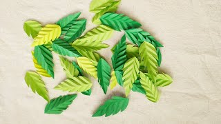 How To Make Paper Flower Leaves/paper Leaves Craft - DIY Easy Paper Leaf Making Idea New #6