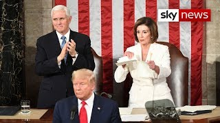 Nancy Pelosi rips up Donald Trump's State of the Union speech behind his back