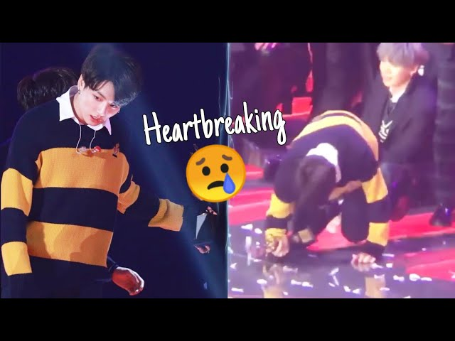 Jungkook Almost Collapsed 😢 tired & like seems in pain 190115