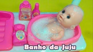 Banho Da Boneca Juju   Rotina Da Tarde Da Boneca Da Tia Cris
