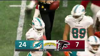 CBS4 NFL Dolphins vs Falcons Primetime Game Good Greek Scoreboard Logo4 3rd Qtr 8 30 18