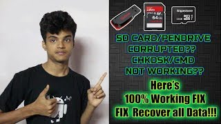 Recover all Data from Corrupted SD CARD/ PENDRIVE [Raw Drive]   CMD/CHKDSK not working..