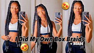 I DID MY OWN JUMBO BOX BRAIDS + BEADS FOR THE FIRST TIME