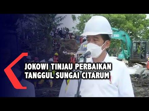 Jokowi Tinjau Perbaikan Tanggul Citarum yang Jebol di Bekasi