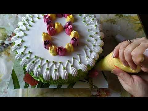 Как украсить торт на 8-е марта