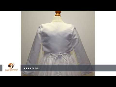 BIMARO Mädchen Bolero Mädchen weiß Satin langer Arm Jacke festlich Kommunion Hochzeit Taufe