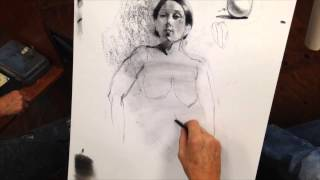 Charcoal Figure Drawing Tutorial, Demo, Exercise focusing on building volume by Steve Carpenter