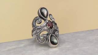 Carolyn Pollack Sterling Silver Grey Mother-of-Pearl & Garnet Ring on QVC