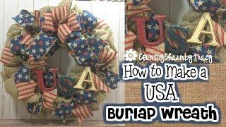 How To Make A USA Burlap Wreath | Bubble Burlap Wreath Technique | Painting Tips