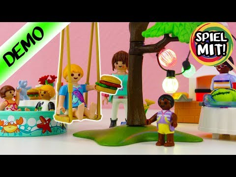 Playmobil Einweihungsparty mit HANNAH VOGEL, Grill , Hot Dogs & Swimming Pool | Neues Set City Life