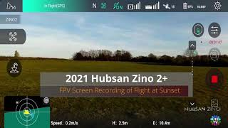 FPV Screen Recording of Flight Data Record at Sunset of Hubsan Zino 2 (not hubsan zini pro mini)
