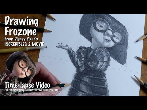 Drawing Edna Mode From Incredibles 2 Voiced By Brad Bird Time-lapse