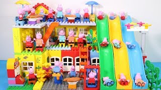 Peppa Pig Family Lego House Creations With Water Slide Toys #9