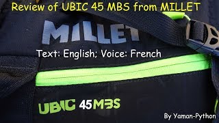 UBIC 45 MBS Millet backpack: review; English text; French voice;