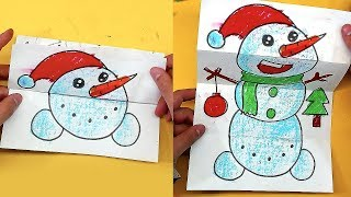 Открытка игрушка - Снеговик