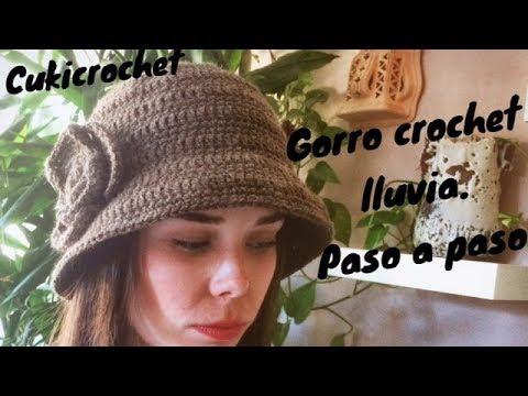 GORRO A CROCHET / GANCHILLO TIPO DE LLUVIA CON FLOR A UN LADO. PASO A PASO. FÁCIL