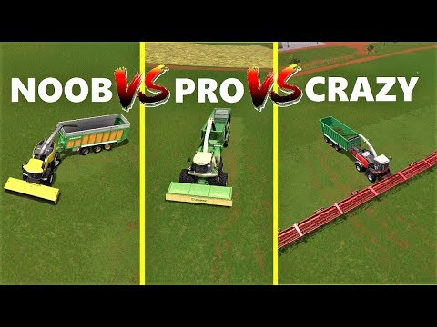 Farming Simulator 17 | NOOB VS PRO VS CRAZY | Farmer Comparison | Grass Job!!