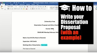 How to Write a Dissertation Proposal (with an example) II SARA MORA