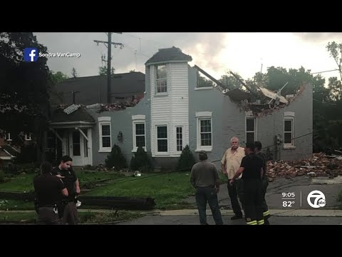 Surveying the damage in Armada after a potential tornado on Saturday night