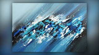 Abstract Acrylic Painting / Easy / Palette Knife Techniques / Demo #041