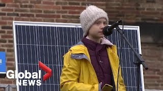 Greta Thunberg denounces political inaction on climate change during UK rally
