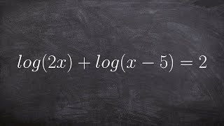 Tutorial - Solving logarithmic equations ex 10, log(2x)+log(x-5)=2