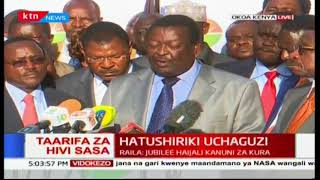 NASA co-principal Musalia Mudavadi reads out the law favoring Raila Odinga's withdrawal