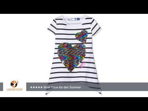 Desigual Mädchen Kurzarm-T-Shirt mit Herz aus zweifarbigen Wende-Pailletten |