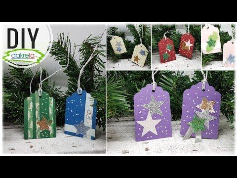 Geschenkanhänger Weihnachten aus Papierresten basteln - 10 Tags DIY Papier Inspiration [Tutorial]
