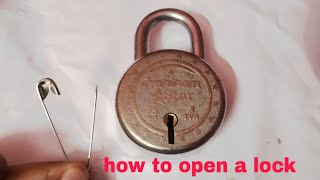 How to open a lock with safety pin without key
