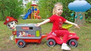 Настя спасает игрушки патруль щенячий на детской площадке