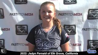 2022 Jadyn Fernald Third Base Softball Player Skills Video - CA Breeze