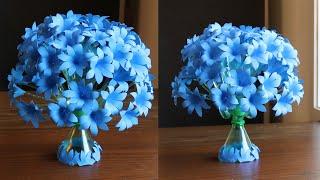 Plastic Bottle Flower Vase Craft - Paper Flowers - Home Decor Ideas