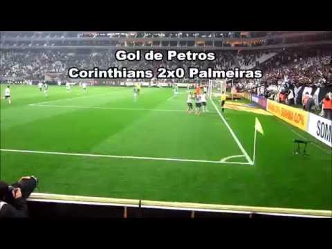 Gol de Petros contra o Palmeiras visto da arquibancada da Arena Corinthians