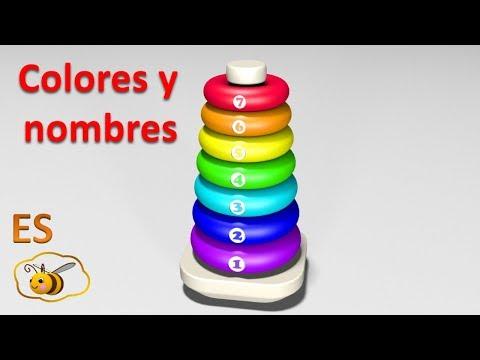 Aprende los colores y los números en español. Juguetes infantiles: una pirámide de anillos.
