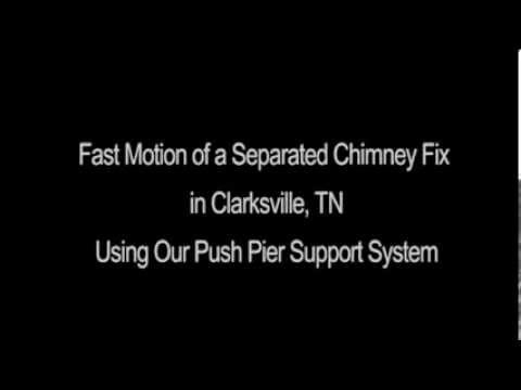 This short, fast motion video shows the process of restoring a tilted chimney in Clarksville, TN to its original position using Frontier Basement Systems' Push Pier support systems.