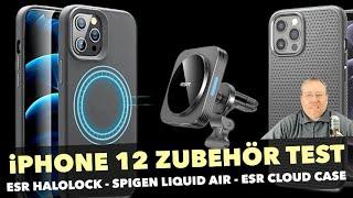 iPhone 12 Zubehör Test: ESR HaloLock MagSafe Autohalterung, Spigen Liquid Air Hülle & ESR Cloud Case