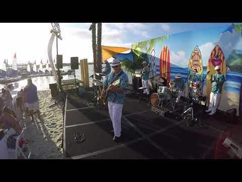 "Jesse plays ""Aerostar"" by Los Straitjackets, live on the beach at The Bahia Resort for the California Dreaming  Beach Party"
