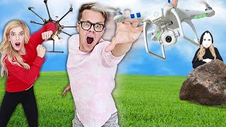 Matt and Rebecca vs Drone Battle RZ Twin Trap! (Searching for 24 hours Hidden Game Master Clues)