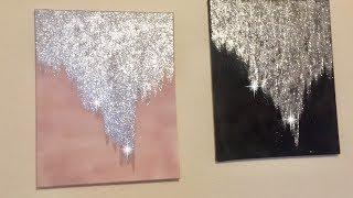 DIY Glitter #Glam Wall Canvas FOR CHEAP