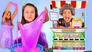 Granny Slime Supermarket Store | Ruby & Bonnie Pretend Play and Mixing Slimes